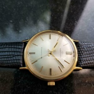 Mens 1960s Movado Kingmatic S 34mm 14k Solid Gold Automatic Swiss Vintage GP9