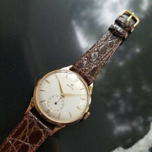 Mens 1960s Zenith 37mm 18k Solid Rose Gold Manual Wind Dress Vintage Watch MA167