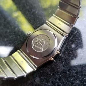 Ladies Omega Constellation 24mm 18k Gold & SS 1980s Quartz Swiss Timepiece LV508