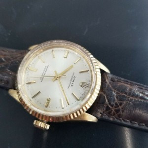 Mens Rolex 14k Solid Gold Oyster Perpetual 1005 34mm 1970s Automatic Swiss MA177