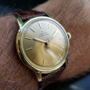 Mens Zenith 35mm 18k Solid Gold 1960s Automatic Dress Watch Vintage