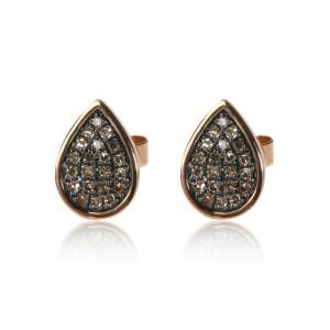Brown Diamond Tear Drop Stud Earrings 14K Rose Gold 0.16 ctw