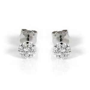 Diamond Cluster Stud Earrings in 14K White Gold 0.22ctw