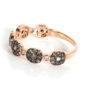 Brown Diamond Cluster Band 14K Rose Gold 0.44CTW