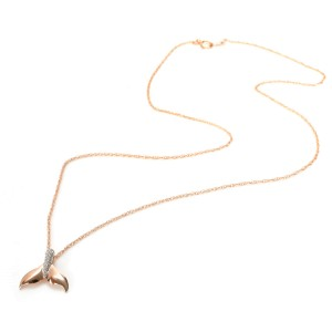 Diamond Dolphin Tail Pendant Necklace in 14K Rose Gold 0.06 ctw
