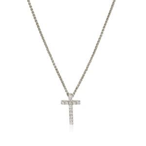 Diamond Cross Pendant Necklace 14K White Gold 0.10 ctw