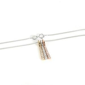 Tricolor Diamond Bar Pendant Necklace 14K Gold 0.31 ctw