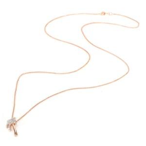Diamond Palm Tree Necklace 14K Rose Gold 0.06 CTW