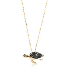 Black Diamond Turtle Pendant Necklace in 14K Yellow Gold 0.17 ctw