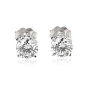 GIA Diamond Stud Earrings in 14K White Gold H VS1 1.49