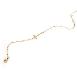 Diamond Sideways Cross Bracelet in 14K Yellow Gold 0.14 ctw
