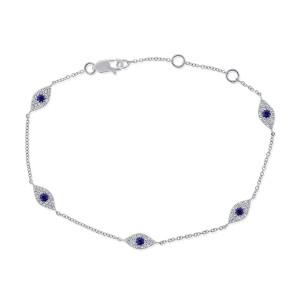 14k White Gold & Diamond Evil Eye Bracelet
