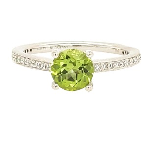 Ritani 1R1966CCRWG-65 18k White Gold Peridot, Diamond Ring