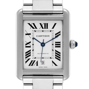 Cartier Tank Solo XL Silver Dial Automatic Steel Mens Watch W5200028