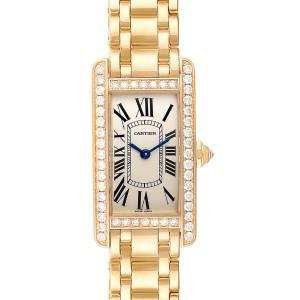 Cartier Tank Americaine Yellow Gold Diamond Ladies Watch WB7072K2 Box Papers