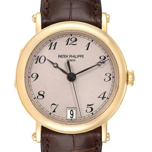 Patek Philippe Calatrava Officier Yellow Gold Mens Watch 5053 Papers