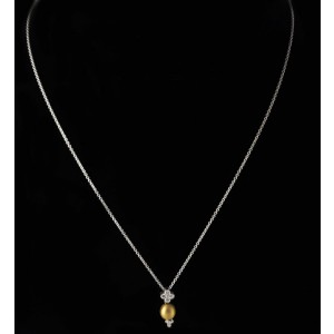 Charles Krypell 18K Two Toned Gold Diamond Pendant Necklace
