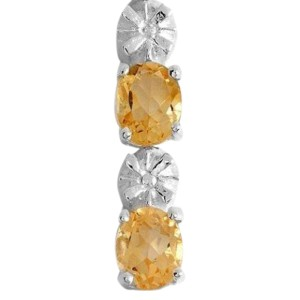 Sterling Silver, Oval Cut Citrine & Diamond Accent Bracelet