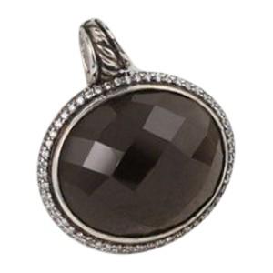 David Yurman Sterling Silver Oval Smoky Quartz Diamond Pendant