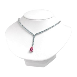 Sterling Silver Blue Pink Topaz Pendant Necklace