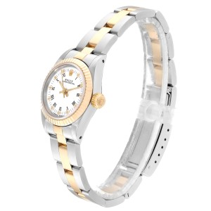 Rolex Oyster Perpetual Steel Yellow Gold White Dial Ladies Watch 67193