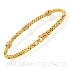 14k Yellow Gold 0.22 Ct. Diamond Basket Weave Bracelet