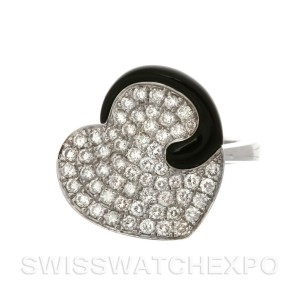 18K White Gold Black Onyx And Pave Diamond Heart Ring