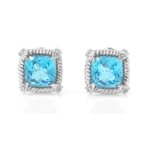 Simple And Elegant 14k White Gold Blue Topaz and Diamond Earrings
