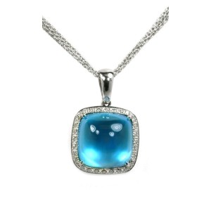 14k White Gold Blue Topaz Cabochon Diamond Pendant