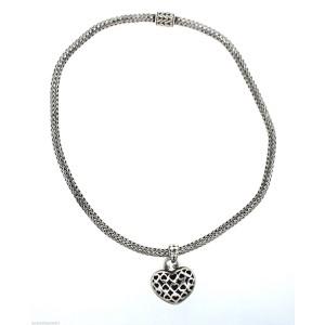 John Hardy Sterling Silver Weave Heart Chain Necklace