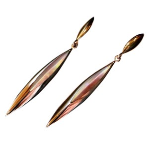 14K Rose Gold Kabana Bronze/Blush Mother of Pearl Earrings and Necklace