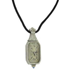Antique Art Deco 14k Gold Onyx Reversible Watch Pendant Necklace