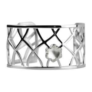 Montblanc Rhodium Plated Sterling Silver Cabochon Montblanc Cut Quartz Crystal Star Collection Bracelet