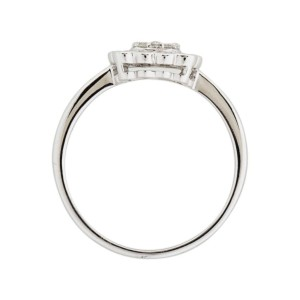 14k White Gold Diamond Square Ring