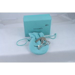 Tiffany & Co. Sterling Silver Twisted and Solid Heart Key Pendant Necklace