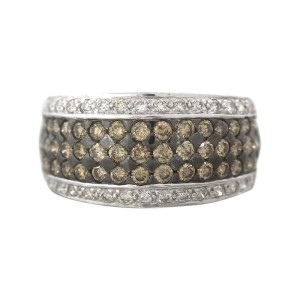 LeVian 14K White Gold Chocolate Diamond Dome Ring