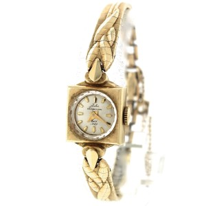 Vintage Ladies Jules Jurgensen 14K Yellow Gold Silver Stick Dial Watch