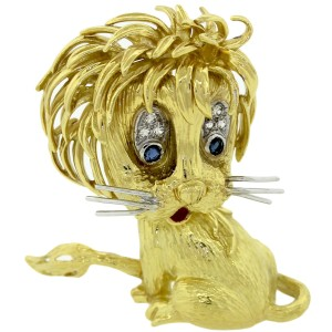 Cartier 18K Yellow Gold Diamond & Sapphire Whimsical Lion Cub Brooch Pin