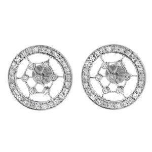 18k White Gold And Diamond Round Earrings