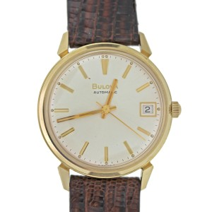 Bulova Vintage 14k Solid Yellow Gold Back w/ Leather Strap Watch