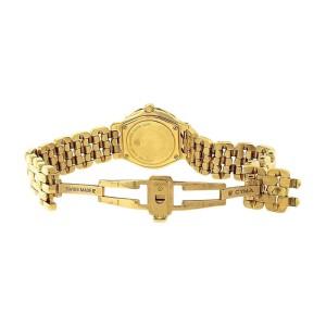 Cyma 18K Yellow Gold Swiss Quartz MOP Diamond Date 24mm Ladies Watch