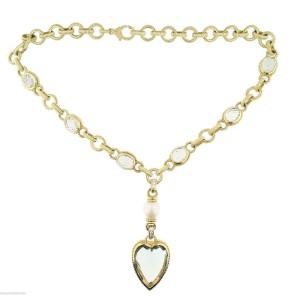 Judith Ripka Designer 18K Yellow Gold Green Quartz Diamond Pearl Necklace