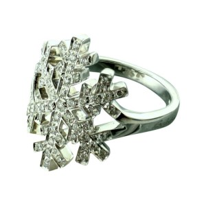 Salvini 18 kt White Gold Snowflake with Diamonds Ring