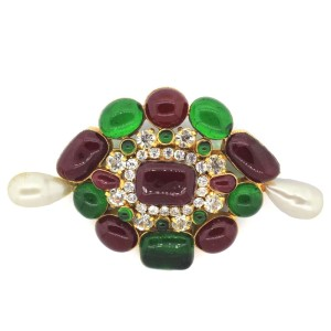 Chanel Gripoix Multi Colored Stoned Simulated Glass Pearl Brooch Pin