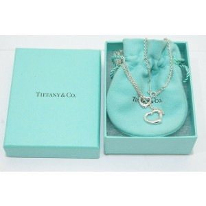 Tiffany & Co. Sterling Silver Elsa Peretti Open Heart Lariat Necklace