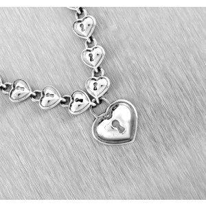 Tiffany & Co. 925 Sterling Silver Heart Lock Continuous Link Necklace