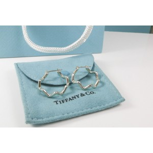 Tiffany & Co. Stering Silver Picasso Zig Zag Hoop Earrings