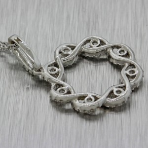 LeVian 14K White Gold  Diamond Infinity Pendant Cable Chain Necklace