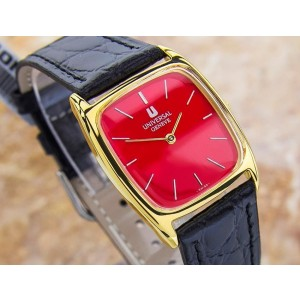 Universal Geneve J82 Gold Plated and Leather 35mm Watch