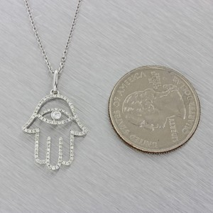 18K White Gold .30ctw Diamond Hamsa Hand of God Pendant Necklace